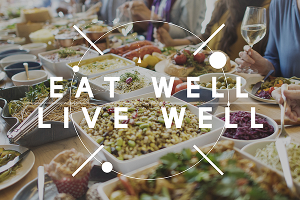 Eat Well Live Well Healthy Food Nutrition Organic Wellness banner